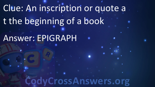 An Inscription Or Quote At The Beginning Of A Book Answers